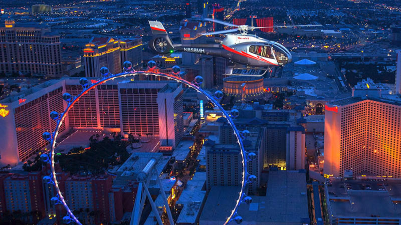 Helicopter Ride Las Vegas Nights - 15 Minutes (Includes Limo Bus Shuttle and Champagne)