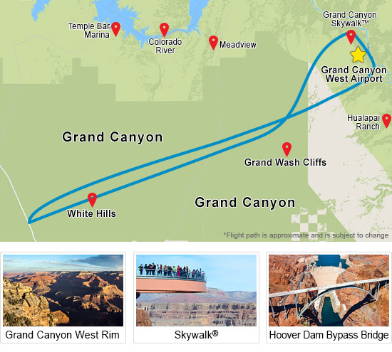 Doors Off VIP Grand Canyon Helicopter Tour Map
