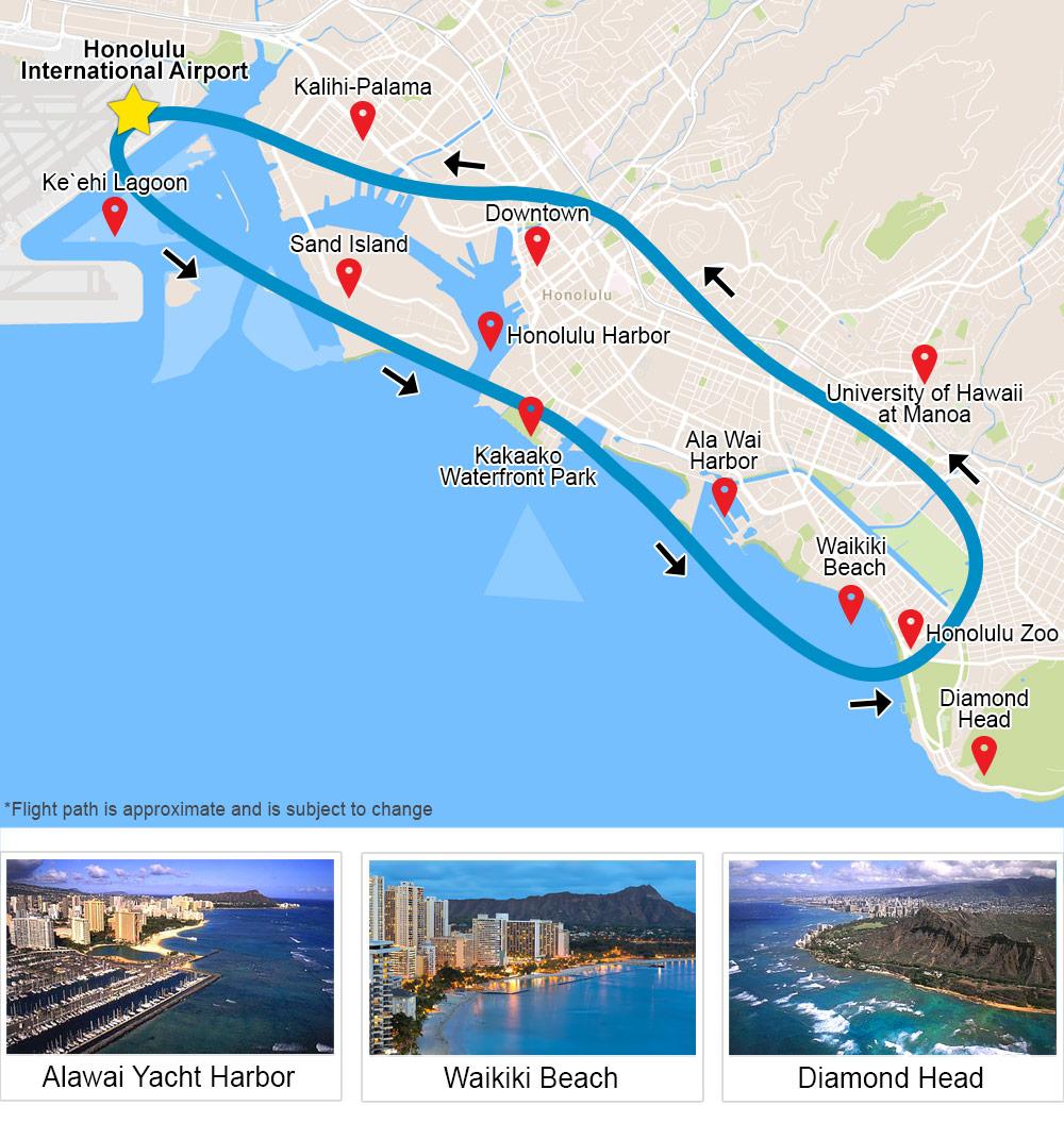 Helicopter Tour Oahu, Waikiki Rush map