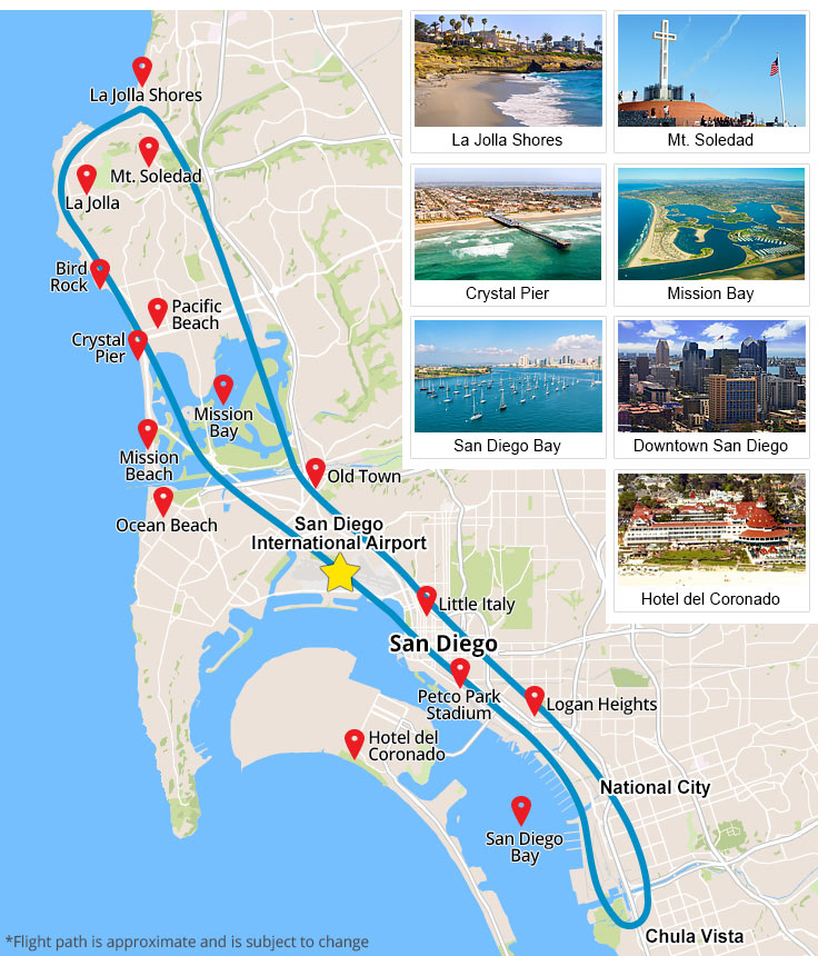 Helicopter Tour San Deigo map