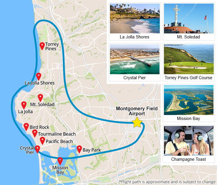 Helicopter Tour San Diego map