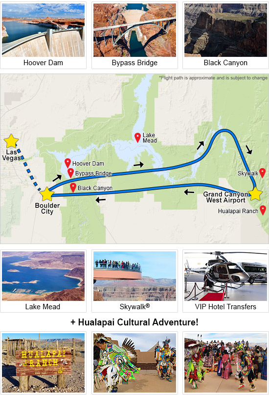 Grand Canyon Helicopter Tour & West Rim Indian Adventure
