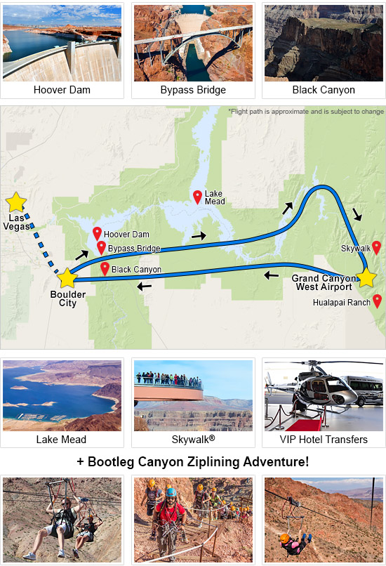 Grand Canyon Helicopter Tour & Bootleg Canyon Ziplining Adventure