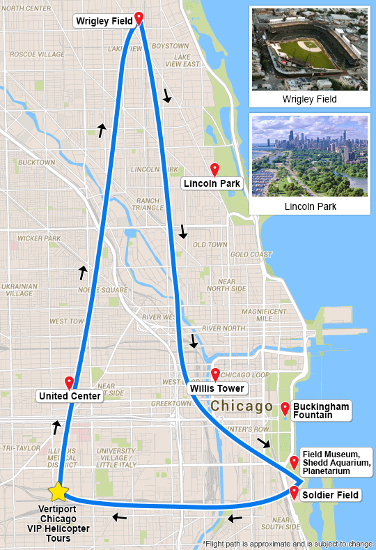 Chicago Helicopter Tour - 15 Minute Flight Map