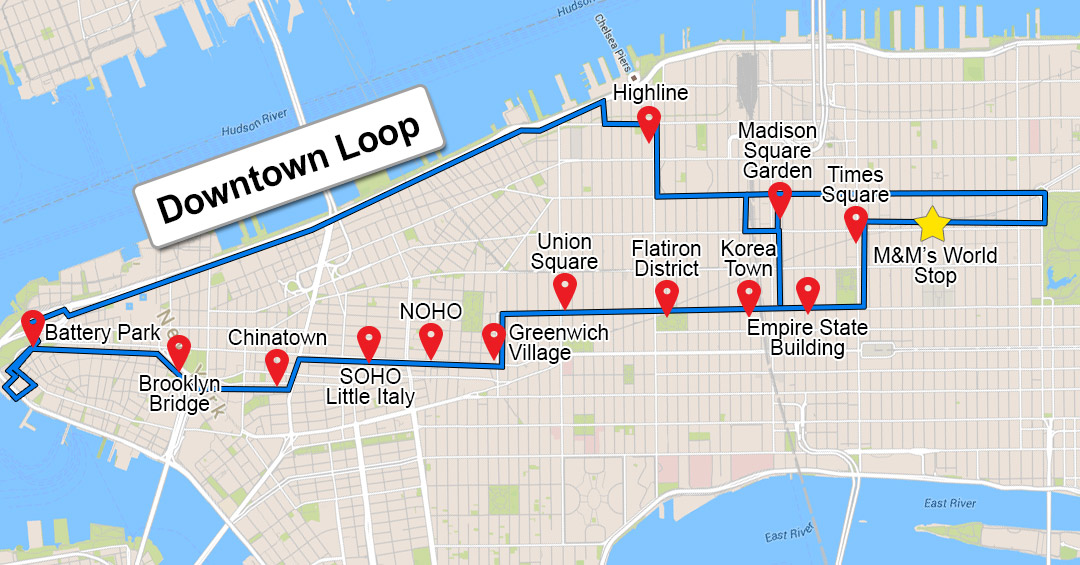 Bus Tour New York City Downtown and Uptown Day Pass Adrenaline