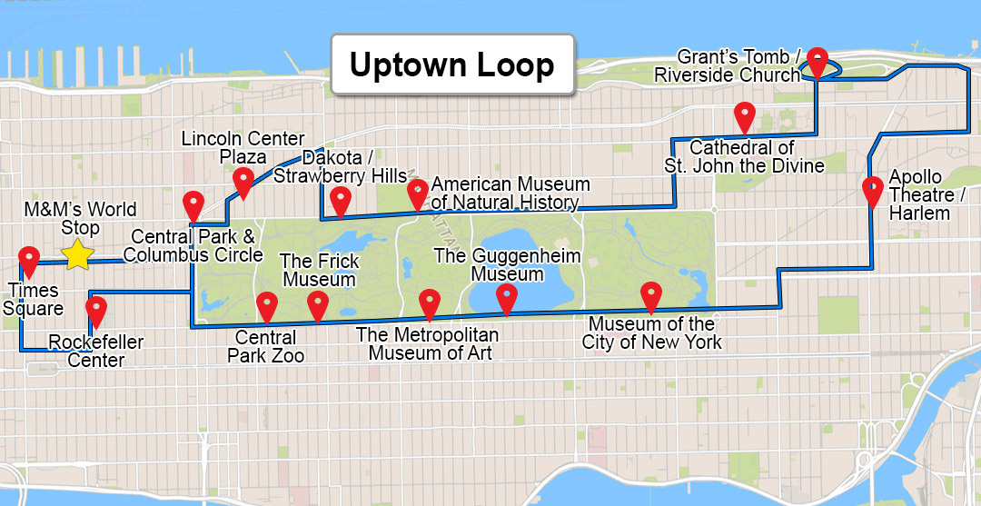 downtown tour map uptown tour map